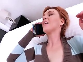 Sandy-haired Mom Talks To Hubby While Son-in-law Pumps Her