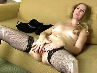 Delightful Golden-haired Mom In Tempting Stockings