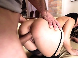 Fuckfest-starved Black-haired Luvs Eating Jizz After Gonzo Cootchie Pounding