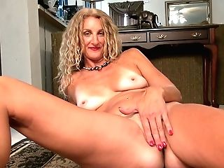 Long-legged And Tall Blonde With Suntan Lines Zoe Marks Plays With Her Nasty Cunny