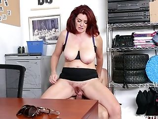 Ginger Cougar Andi James Takes Jizz Flows On Big Natural Baps After Crazy Puss Pounding