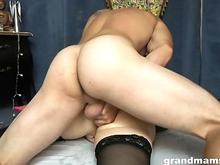 Trampy Granny In Stockings Marta Has An Affair With Horny Youthfull Student