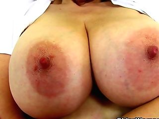 English Cougar Tigger Plays With Her Big Tits And Pink Fanny