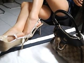 Sexy Feet Playing With Guess Boots And Gucci Bag