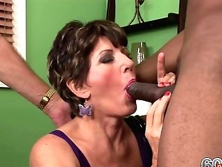 Matures Lady Is Fucking A Super-sexy, Black Man In Front Of Her Hubby, Who Likes To Observe