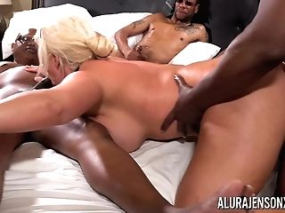Alura Jenson Gang-fucked By Six Black Knobs At Once