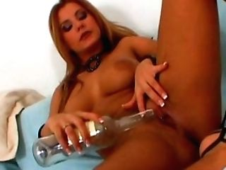 A Bit Weird But Surely Hot Booty Blondie Uses A Bottle To Please Her Cunt