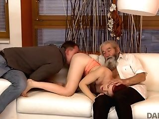 Daddy4k. Boy Caught Old Dad Finger-tickling His Gf And Quickly Joined Them