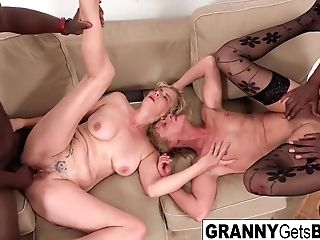 A Duo Of Horny Grannies Get Fucked In The Donk By Big Black Cock
