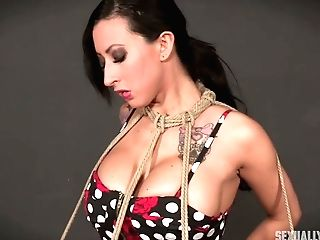 Faux Tittied Tattooed Whore Lily Lane Is Tied Up And Fucked In The Sadism & Masochism Room
