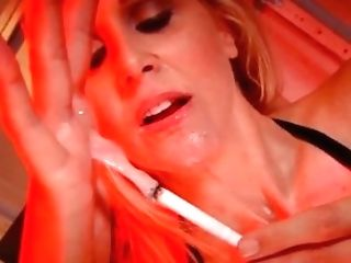 Hot Horny Cougar Julia Ann Blows A Penis & Smokes A Ciggy!