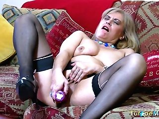 Old Housewife In Sexy Underwear And Stockings Ruby Masturbates Her Perky Cunt
