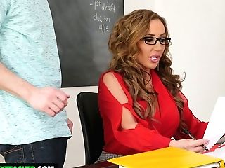 Bitchy Lecturer Richelle Ryan Fucks One Of Her Students Right On The Table